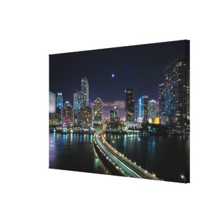 Skyline of Miami city with bridge at night Gallery Wrap Canvas