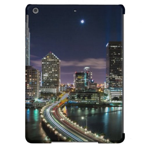 Skyline of Miami city with bridge at night Cover For iPad Air