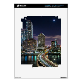 Skyline of Miami city with bridge at night Decal For iPad 3
