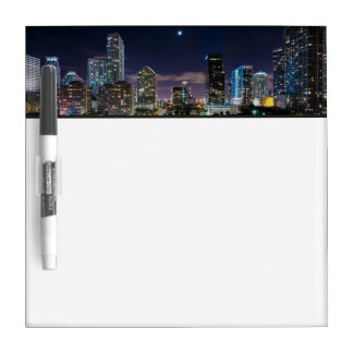 Skyline of Miami city with bridge at night Dry-Erase Board