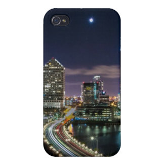 Skyline of Miami city with bridge at night iPhone 4/4S Cover