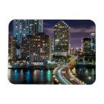 Skyline of Miami city with bridge at night Magnet