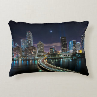 Skyline of Miami city with bridge at night Accent Pillow