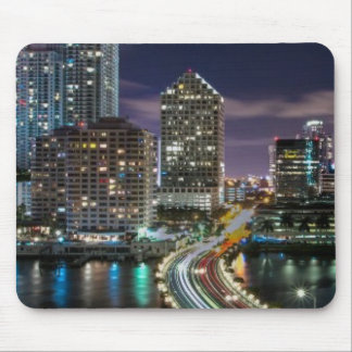 Skyline of Miami city with bridge at night Mouse Pad
