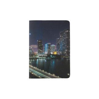 Skyline of Miami city with bridge at night Passport Holder
