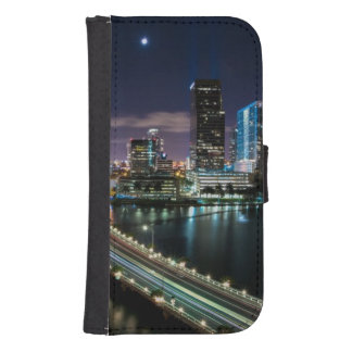 Skyline of Miami city with bridge at night Phone Wallet
