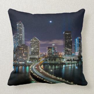 Skyline of Miami city with bridge at night Pillow
