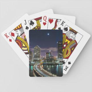 Skyline of Miami city with bridge at night Poker Deck
