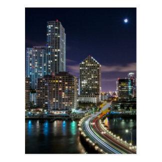 Skyline of Miami city with bridge at night Postcard