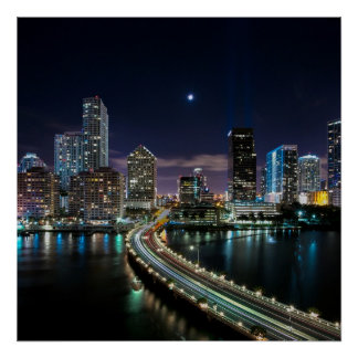 Skyline of Miami city with bridge at night Poster