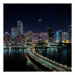 Skyline of Miami city with bridge at night Posters