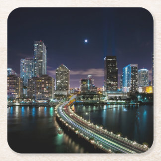Skyline of Miami city with bridge at night Square Paper Coaster