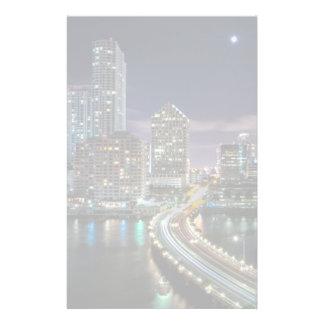 Skyline of Miami city with bridge at night Stationery