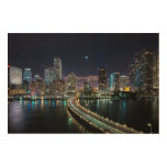 Skyline of Miami city with bridge at night Wood Canvases