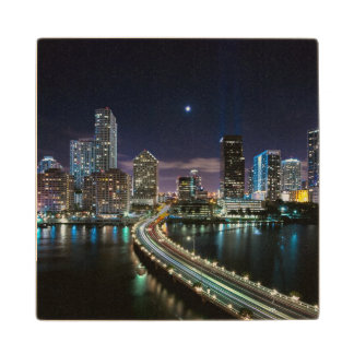 Skyline of Miami city with bridge at night Wooden Coaster