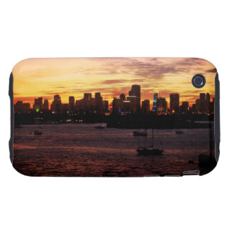 Skyline of Miami Florida at Sunset Tough iPhone 3 Covers