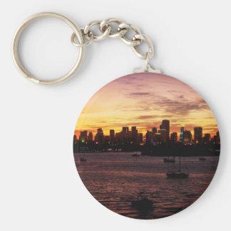 Skyline of Miami Florida at Sunset Keychain