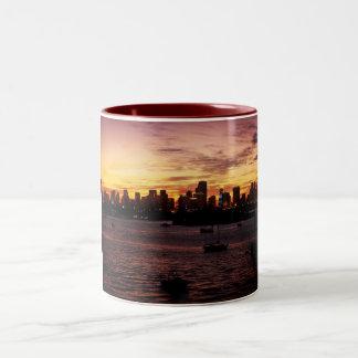 Skyline of Miami Florida at Sunset Two-Tone Coffee Mug