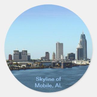 Skyline of Mobile, AL Classic Round Sticker
