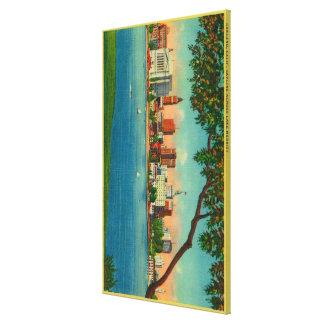 Skyline of Oakland across Lake Merritt Canvas Print