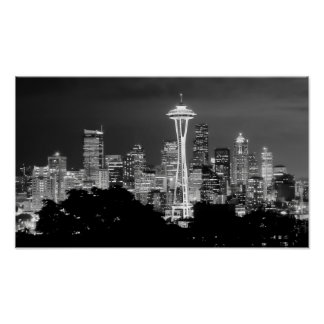SKYLINE of SEATTLE BW Poster