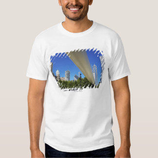 Skyline of Skyscrapers and footbridge at T Shirt