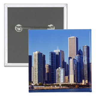 Skyline of Skyscrapers in downtown Chicago Pinback Button