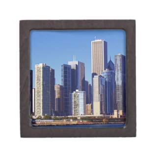 Skyline of Skyscrapers in downtown Chicago Premium Keepsake Boxes