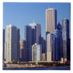 Skyline of Skyscrapers in downtown Chicago Large Square Tile