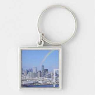 Skyline of Tokyo and Rainbow Bridge Silver-Colored Square Keychain