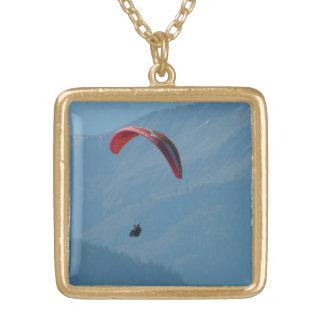 Skyline Paraglider Paragliding Gold Plated Necklace