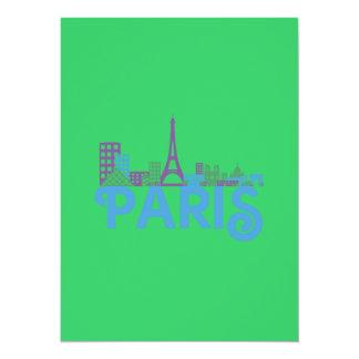 Skyline Paris 5.5x7.5 Paper Invitation Card