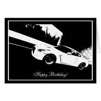 Skyline Rolling Shot CarTheme Birthday Card