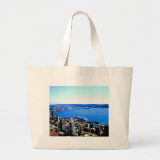 skyline seattle cityscape city tote bags