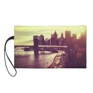 Skyline Sunset - Brooklyn Bridge and NYC Cityscape Wristlet Purses