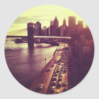 Skyline Sunset - Brooklyn Bridge and NYC Cityscape Classic Round Sticker