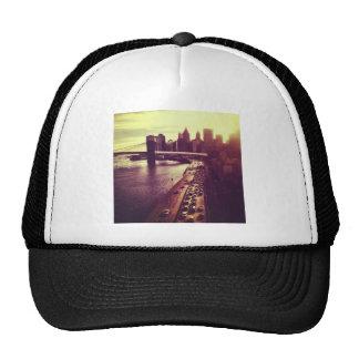 Skyline Sunset - Brooklyn Bridge and NYC Cityscape Mesh Hats