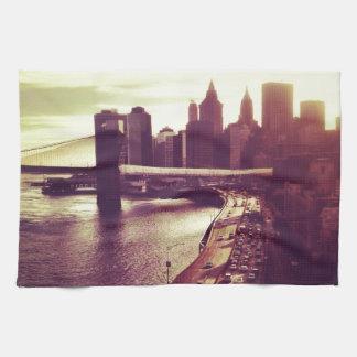 Skyline Sunset - Brooklyn Bridge and NYC Cityscape Kitchen Towel