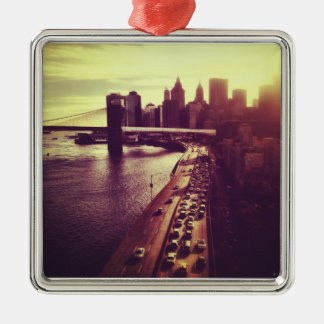 Skyline Sunset - Brooklyn Bridge and NYC Cityscape Christmas Tree Ornaments