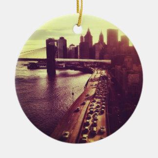 Skyline Sunset - Brooklyn Bridge and NYC Cityscape Christmas Tree Ornament