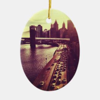 Skyline Sunset - Brooklyn Bridge and NYC Cityscape Christmas Ornaments