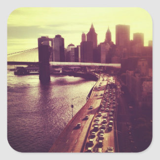 Skyline Sunset - Brooklyn Bridge and NYC Cityscape Square Stickers