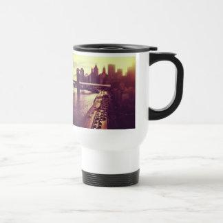 Skyline Sunset - Brooklyn Bridge and NYC Cityscape Travel Mug