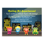 Skyline Superhero Birthday Party For Kids Card<br><div class='desc'>Planning a children&#39;s party? How about a superhero party! Invite your children&#39;s guests to come dressed in their favourite superheroes&#39; costumes, capes and masks or better still, use their creative minds and come up with their own original superheroes! This invitation has 4 children dressed in colourful and fun superheroes outfits...</div>