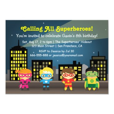 RustyDoodle Skyline Superhero Birthday Party For Kids Card