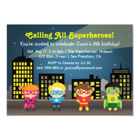 Skyline Superhero Birthday Party For Kids 4.5x6.25 Paper Invitation Card