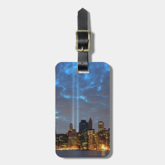 Skyline view of city in night. bag tags