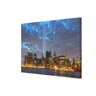 Skyline view of city in night. stretched canvas prints