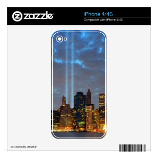 Skyline view of city in night. decal for the iPhone 4
