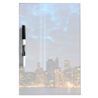 Skyline view of city in night. dry erase board